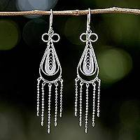 Sterling silver chandelier earrings, 'Fringed Droplets' - Sterling Silver Thai Filigree Chandelier Teardrop Earrings