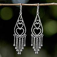 Sterling silver heart chandelier earrings, 'Chiang Mai Lovers' - Sterling Silver Heart Shaped Thai Chandelier Earrings