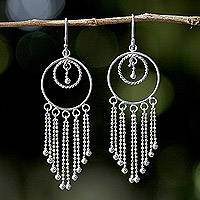 Sterling silver chandelier earrings, 'Dream Protectors' - Thai Artisan Jewelry Sterling Silver Chandelier Earrings