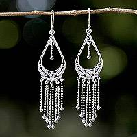 Sterling silver chandelier earrings, 'Dewy Drops' - Sterling Silver Filigree Chandelier Earrings from Thailand