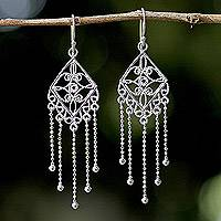 Sterling silver chandelier earrings, 'Raining Beauties' - Artisan Crafted 925 Sterling Silver Earrings from Thailand