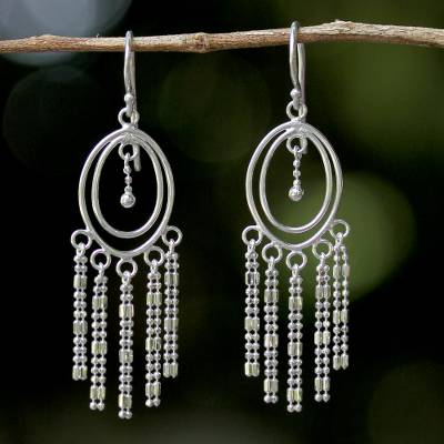 Sterling silver chandelier earrings, 'Romantic Fringe' - Sterling Silver Oval Chandelier Earrings from Thailand