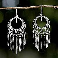 Sterling silver chandelier earrings, 'Raining Romance' - Sterling Silver Chandelier Earrings from Thailand