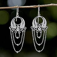 Sterling silver dangle earrings, 'Blessed Links' - Thai Sterling Silver Circular Filigree Chandelier Earrings