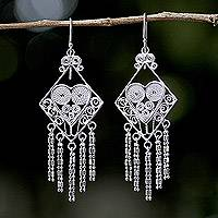 Sterling silver chandelier earrings, 'Diamond Hearts' - Thai Sterling Silver Diamond Shaped Chandelier Earrings