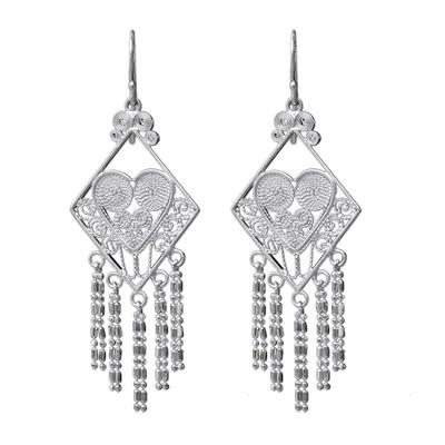 Thai Sterling Silver Diamond Shaped Chandelier Earrings