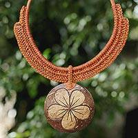 Coconut shell and leather flower pendant necklace, 'Rustic Frangipani'