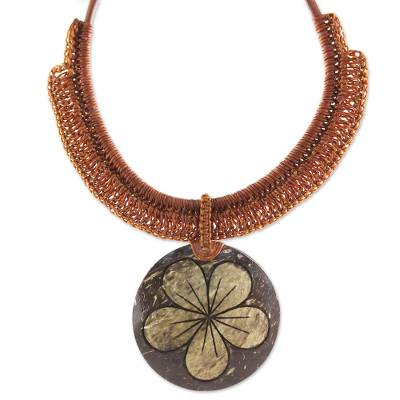 Thai Leather and Coconut Shell Floral Handmade Necklace