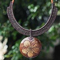 Coconut shell and leather flower pendant necklace, 'Rustic Frangipani in Black' - Handmade Black Leather and Coconut Shell Floral Necklace