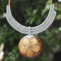 Coconut shell and leather flower pendant necklace, 'Rustic Frangipani in Grey'