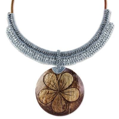 Coconut shell and leather flower pendant necklace, 'Rustic Frangipani in Grey' - Grey Leather and Coconut Shell Floral Statement Necklace