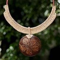 Coconut shell and leather statement necklace, 'Rustic Frangipani in Beige'