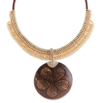 Beige Leather and Coconut Shell Floral Statement Necklace