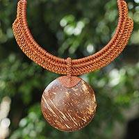 Coconut shell and leather pendant necklace, 'Rustic Moon' - Burnt Orange Leather and Coconut Shell Statement Necklace