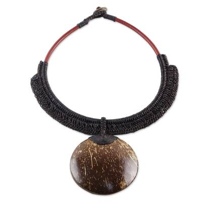 Coconut shell and leather statement necklace, 'Rustic Moon in Dark Brown' - Dark Brown Leather and Coconut Shell Statement Necklace