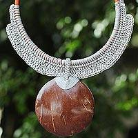 Coconut shell and leather statement necklace, 'Rustic Moon in Grey'