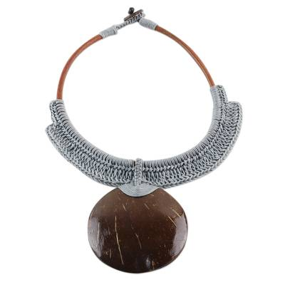 Thai Ivory Leather and Coconut Shell Statement Necklace