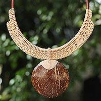 Coconut shell and leather statement necklace, 'Rustic Moon in Beige'