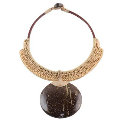 Coconut shell and leather statement necklace, 'Rustic Moon in Beige' - Thai Beige Leather and Coconut Shell Statement Necklace