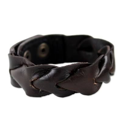 Leather Wristband Bracelet in Dark Brown from Thailand