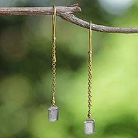 Gold plated labradorite dangle earrings, 'Golden Gleam' - Labradorite Dangle Earrings from Thailand