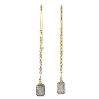 Gold plated labradorite dangle earrings, 'Golden Gleam' - Labradorite Dangle Earrings from Thailand