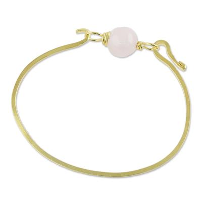 Gold plated rose quartz pendant bracelet, 'Always Lucky' - Gold Plated Rose Quartz Pendant Bracelet from Thailand