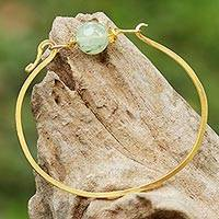 Gold plated prehnite pendant bracelet, 'Always Lucky'