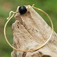Gold plated onyx pendant bracelet, 'Always Lucky' - Gold Plated Onyx Pendant Bracelet from Thailand