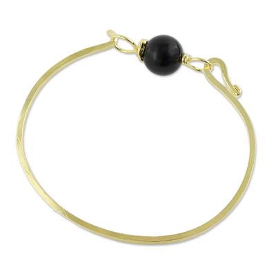 Gold plated onyx pendant bracelet, 'Always Lucky' - Gold Plated Onyx Pendant Bracelet from Thailand