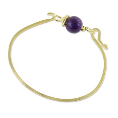 Gold plated amethyst pendant bracelet, 'Always Lucky' - Gold Plated Amethyst Pendant Bracelet from Thailand