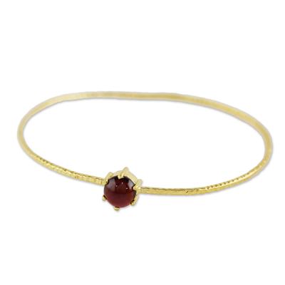 Gold plated garnet bangle bracelet, 'Meteor' - Gold Plated Garnet Bangle Bracelet from Thailand