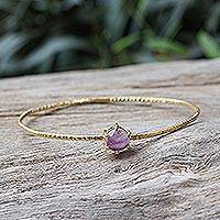 Gold plated amethyst bangle bracelet, 'Meteor' - Amethyst Bangle Bracelet from Thailand