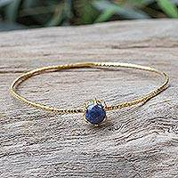 Gold plated lapis lazuli bangle bracelet, 'Meteor' - Gold Plated Lapis Lazuli Bangle Bracelet from Thailand