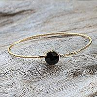 Gold plated onyx bangle bracelet, 'Meteor' - Gold Plated Black Onyx Bangle Pendant Bracelet from Thailand