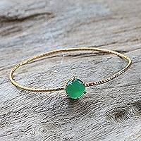 Gold plated green onyx bangle bracelet, 'Meteor' - Gold Plated Green Onyx Bangle Pendant Bracelet from Thailand