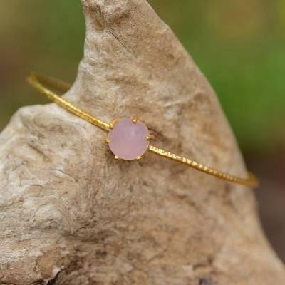 Gold plated chalcedony bangle bracelet, 'Stellar Bloom' - Thai Gold Plated Pink Chalcedony Pendant Bangle Bracelet