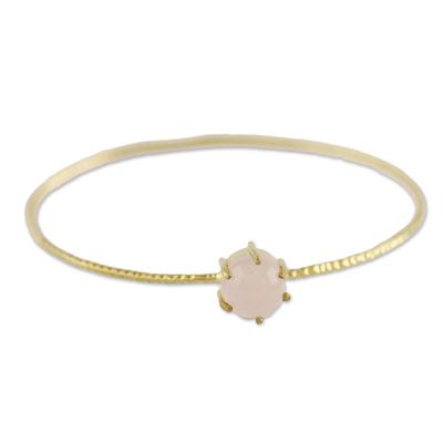 Gold plated chalcedony bangle bracelet, 'Stellar Bloom' - Thai Gold Plated Pink Chalcedony Pendant Bangle Bracelet
