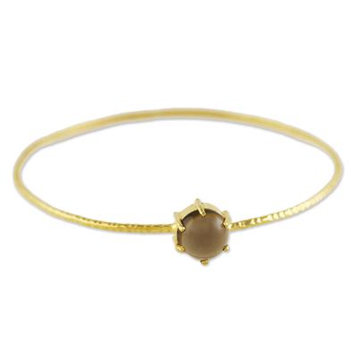 Gold plated smoky quartz bangle bracelet, 'Stellar Bloom' - Thai Gold Plated Smoky Quartz Bangle Pendant Bracelet