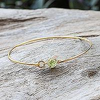 Gold plated peridot bangle bracelet,