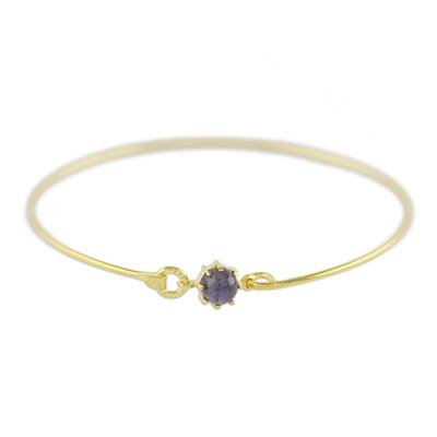 Gold plated iolite bangle bracelet, 'Charming Luck' - Gold Plated Iolite Bangle Bracelet from Thailand