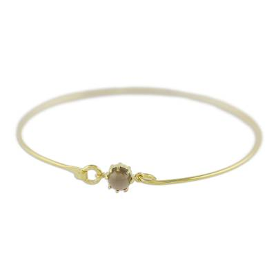 Gold plated smoky quartz bangle bracelet, 'Charming Luck in Brown' - Gold Plated Smoky Quartz Bangle Bracelet from Thailand