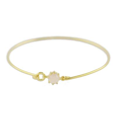 Gold plated chalcedony bangle bracelet, 'Charming Luck in Pink' - Gold Plated Chalcedony Bangle Bracelet from Thailand