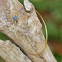 Gold plated lapis lazuli bangle bracelet, 'Charming Luck in Blue' - Gold Plated Lapis Lazuli Bangle Bracelet from Thailand
