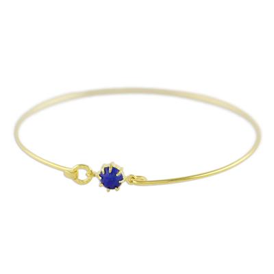 Gold plated lapis lazuli bangle bracelet, 'Charming Luck in Blue' - Gold Plated Lapis Lazuli Bangle Bracelet from Thailand