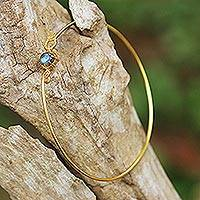 Gold plated labradorite bangle bracelet, 'Speckled Luck' - Gold Plated Labradorite Bangle Bracelet from Thailand