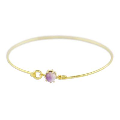 Gold plated amethyst bangle bracelet, 'Charming Luck in Purple' - Gold Plated Amethyst Bangle Bracelet from Thailand