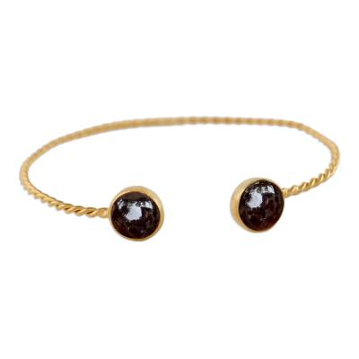 Gold plated garnet cuff braclet, 'Gold Charm in Red' - Gold Plated Garnet Cuff Bracelet from Thailand
