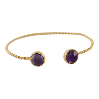 Gold plated amethyst cuff bracelet, 'Gold Charm in Purple' - Gold Plated Cuff Bracelet with Amethyst from Thailand