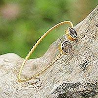Gold plated smoky quartz cuff bracelet, 'Gold Charm in Brown' - Gold Plated Cuff Bracelet with Smoky Quartz from Thailand